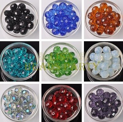 Wholesale 5/50pcs 16X12mm Rondelle Faceted Crystal Glass Loose Spacer Beads Lot