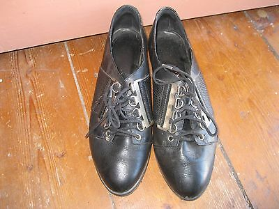 OLD STOCK GRUNGE BLACK 80s 90s LEATHER SHOES BROGUES METAL HARDWARE AU 6