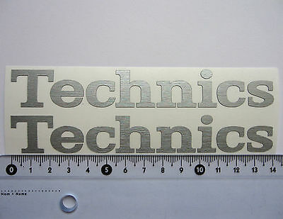 2 x Technics decal stickers for 2 turntables - BRUSHED CHROME Text Logo 140mm