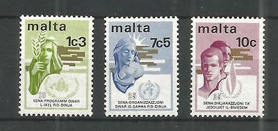Malta 1973 Anniversaries Sg,504-506 Um/m Nh Lot 981A