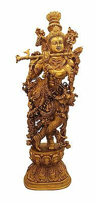 """Standing Hindu god Lord Krishna with flute idol RELIGIOUS EDH décor statue 29"""""""