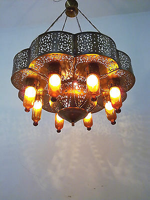 BR384 Arabian Style Pendant Brass Chandelier AMBER GLASS SHADES
