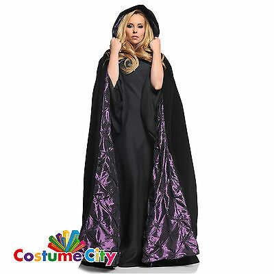 Deluxe Adult Gothic Hooded Halloween Fancy Dress Purple Lining Black Velvet Cape