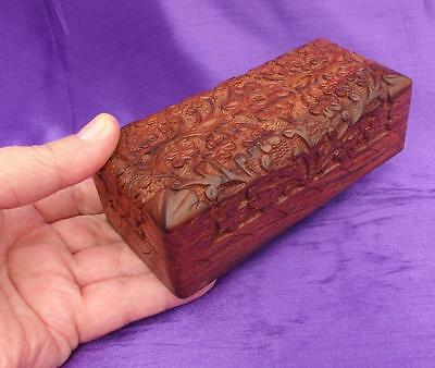 "5.5"" Stunning Deep CARVED WOODEN BOX Jewellery Trinkets Desk Tidy Treasures Gift"