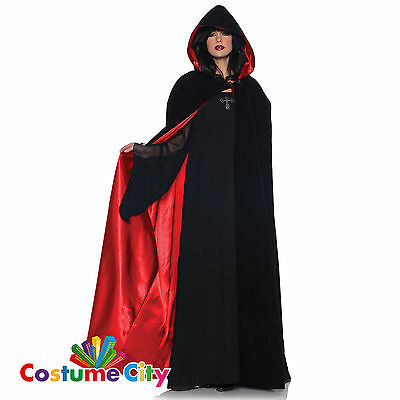 Adults Red Lined Satin Velvet Hooded Cape Halloween Fancy Dress Party Accessory