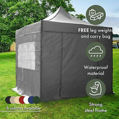 AirWave 2.5x2.5m Pop-Up Gazebo Waterproof Garden Gazebo 2 Windbars 4 Leg Weights
