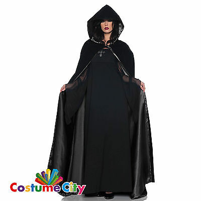 Adults Hooded Black Velvet Satin Cape Halloween Fancy Dress Party Accessory