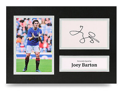 Joey Barton Signed A4 Photo Genuine Rangers Autograph Display Memorabilia + COA