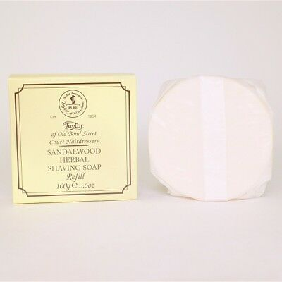 Sandalwood Herbal Shaving Soap Wooden Bowl REFILL 100g, Taylor of Old Bond St
