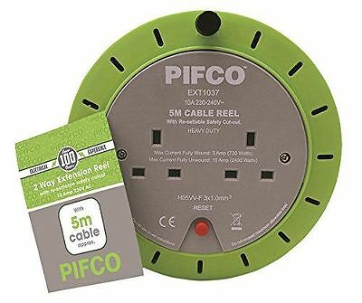 Pifco 2 Way Mains Socket with 5M Metre Extension Lead Reel Cable Heavy Duty DIY