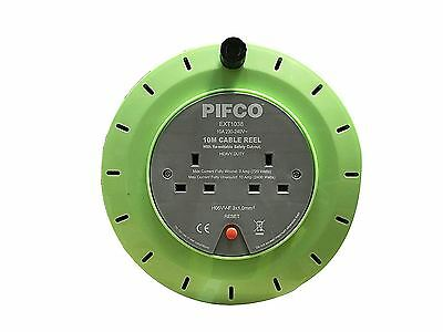Pifco 2 Way Mains Socket with 10M Metre Extension Lead Reel Cable Heavy Duty DIY