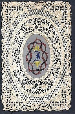 Antique HOLY CARD Vintage religious Canivet Lace beautiful thorn crown