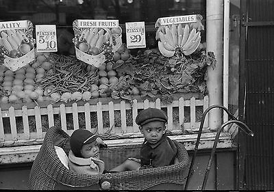 """Old Time photo. 1941, Store front, fruit, Russel, Cute Kids in stroller,16""""x13"""""""