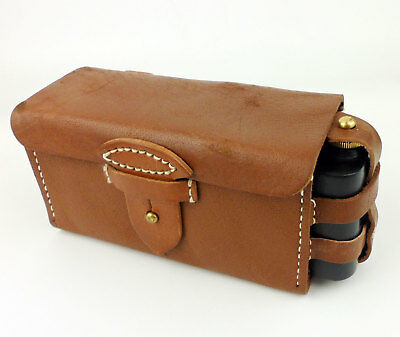 Wwii Japanese Army Leather Ammo Pouch Case Box With Oiler Bottle-0318