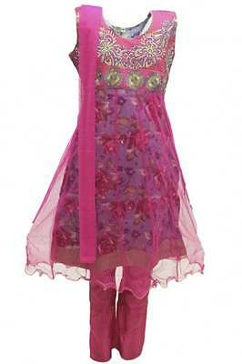 GCS3108 Hot Pink and Purple Girl's Churidar Suit Indian Bollywood Fancy Dress