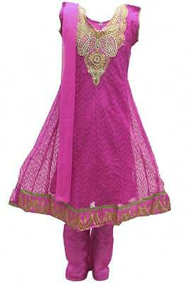GCS3114 Hot Pink and Gold Girl's Churidar Suit Indian Bollywood Fancy Dress