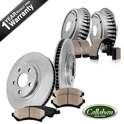 Front OE Brake Rotors + Ceramic Pads & Rear Brake Drums + Shoes Sonoma Chevy S10