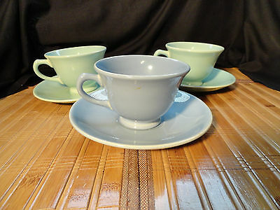 Lu-Ray Pastels Cups and Saucers, Set of 3