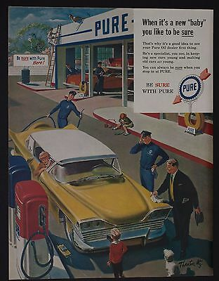 Vintage 1959 Pure Oil Print Ad Family Yellow Sedan Gas Station Be Sure with Pure