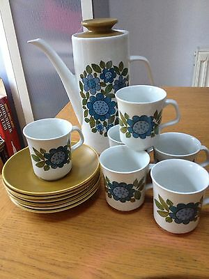 J & G Meakin Topic Pottery Coffee Pot Set With 6 Cups & Saucers