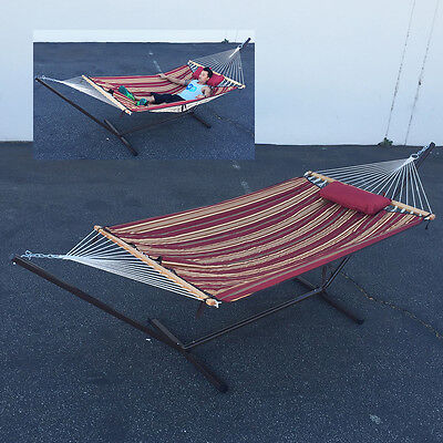 Convertible Rope Quilted Hammock Pillow Outdoor Swing Set Stand Camping Patio