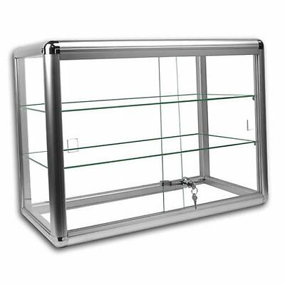 3 Shelf Glass Countertop Display Case Store Fixture Showcase Key Lock