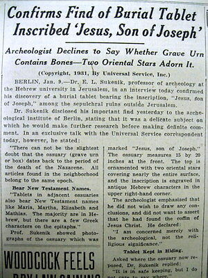 1931 newspaper Burial tablet of JESUS , SON of JOSEPH is DISCOVERED in JERUSALEM • CAD $62.82