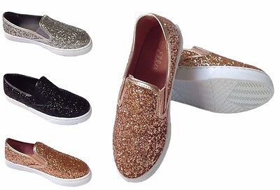 New Girls Ella Plimsolls Slip-On Pumps Kids Glitter Shoes Trainers