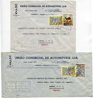 ANGOLA AUTOMOTIVE ADVERTISING ENVELOPES 2 ITEMS to GB AIRMAIL 1957