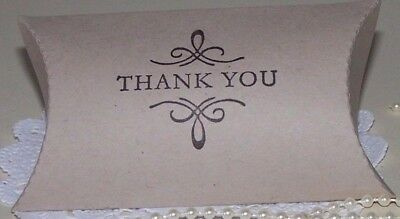 "Hand stamped ""Thank you""pillow boxes-Pk-50,Vanilla,White,Mint, Brown,Pink,Lilac"