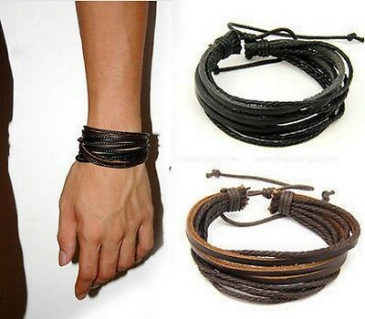 Mens Womens Multi Layer Leather Adjustable  Rope Cuff Bracelet Bangle