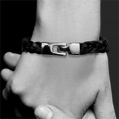 Mens Genuine Leather Braided Bracelet- Stainless Steel Toggle Clasp- Brown/Black