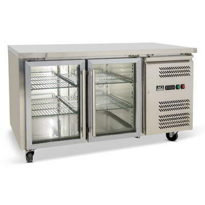 Commercial 2 Door Display Fridge Work Counter Or Under Bench Stainless Steel