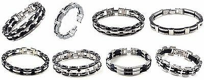 Mens Silicone Rubber Stainless Steel Biker Link Chain Motorcycle Punk Bracelet