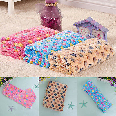 Warm Pet Mat Small Large Star Print Cat Dog Puppy Fleece Blanket Bed Cushion Pad