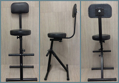 Adjustable Performance Stool w/Foot & Back Rest for Keyboard Guitar