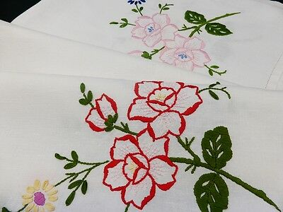 """Vintage Linen Tablecloth-Colourful Hand Embroidered Roses-34"""""""