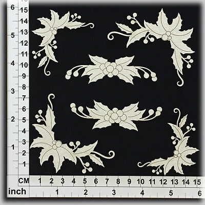 Chipboard Embellishments for Scrapbooking, Cardmaking - Holly 45163
