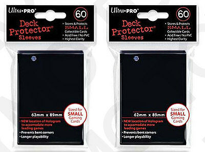 120 2pk ULTRA-PRO Small Mini Size YuGiOh Card Sleeves Deck Protector 82964 Black
