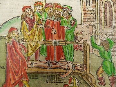 Torture Saint Erasmus Of Formia Dutch Incunable Woodcut Antwerp 1505 Folter J07