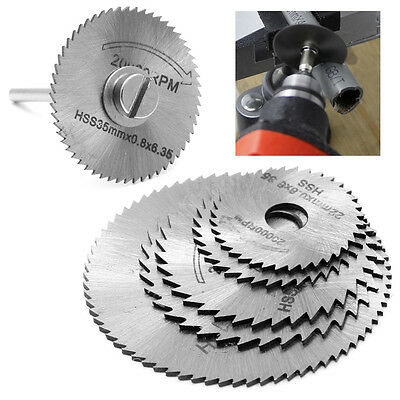 5Pcs Cut off Saw Blades HSS Cutting Discs + 1 Mandrel For Rotary Blade Tool