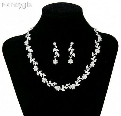 Silver Crystal Flower Necklace and Earrings Party Bridal Wedding Jewellery Set