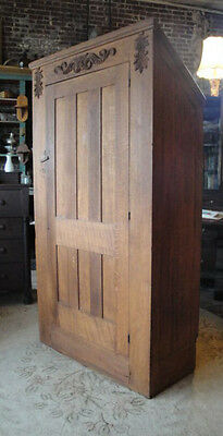 Antique Victorian 1880's Oak Gable Knee Wall Wardrobe Armoire Cabinet