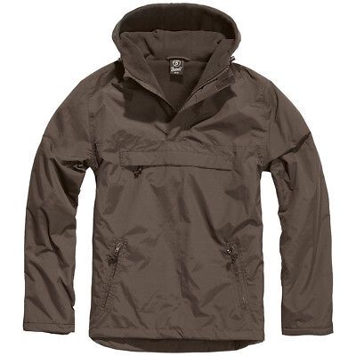 Brandit Classic Army Tactical Windbreaker Hooded Anorak Mens Jacket Hiking Brown