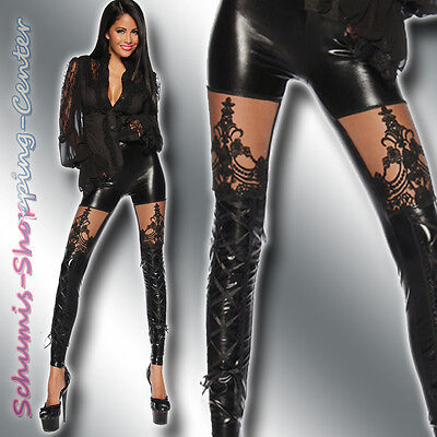 Sexy Wetlook Leggings 34-38 Lack Leder Optik Spitze Schwarz Leggins Gothic 00400