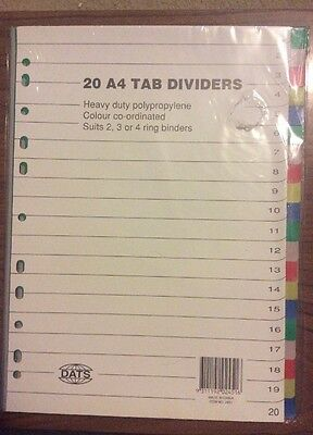 20 A4 Tab Dividers For 2 3 Or 4 Ring Binder Colour Co-ordinated