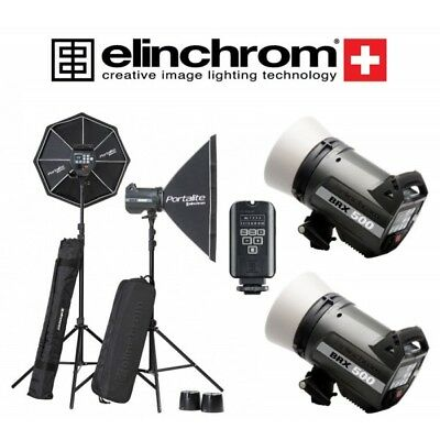 Kit 2 Elinchrom BRX 500/500 Softbox To Go con transmisor El-Skyport Plus