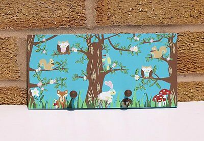 Childrens Animal Double Coat Hooks Forest Woodland Owls Squirrels Hedgehogs