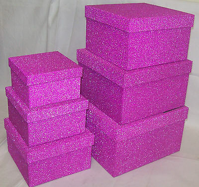 Set Of 6 Assorted Square Glitter Gift Boxes With Lid - Pink Glittery