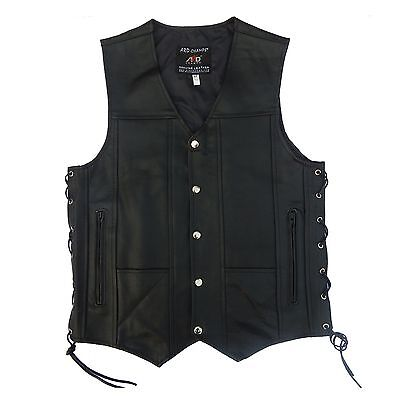 ARD CHAMPS™ Mens Black Genuine Leather 10 Pockets Motorcycle Biker Vest S To 9XL